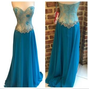 Paparazzi by Mori Lee 97061 turquoise size 16